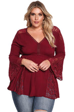 Load image into Gallery viewer, Burgundy V Neck Lace Insert Bell Sleeves Babydoll Plus Top