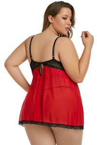 Red Plus Size Peek-a-boo Babydoll