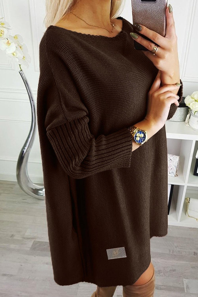 Brown Oversized Batwing Sleeve Sweater Dress