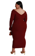 Load image into Gallery viewer, Long Sleeve V Neck Knitted Dress