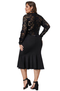 Black Lace Panel Peplum Hem Sheath Dress