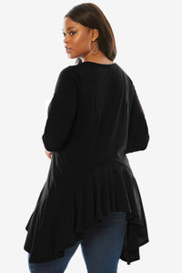 Long Sleeve Frill Hemline Plus Size Tunic