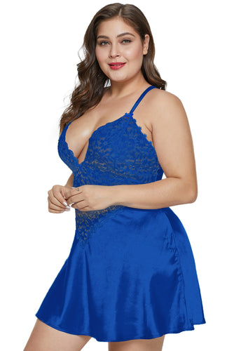 Blue Plus Size Satin and Lace Chemise Set