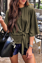 Load image into Gallery viewer, Green Waist Tie Front Flare Sleeve Blouse