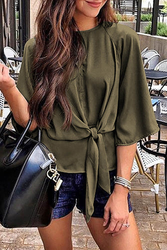 Green Waist Tie Front Flare Sleeve Blouse
