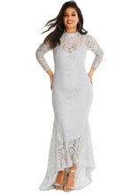 Load image into Gallery viewer, White Plus Size High Neck Lace Fishtail Maxi Dress