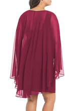 Load image into Gallery viewer, Red Sleeveless Surplice Capelet Dress