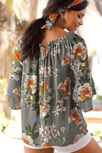 Load image into Gallery viewer, Gray Floral Print Blouse