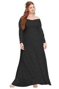 Special Occasion Plus Size Black Lace Gown