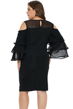 Load image into Gallery viewer, Black Cold Shoulder Cascading Sleeve Dress