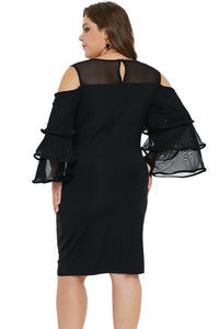 Black Cold Shoulder Cascading Sleeve Dress