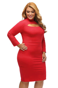 Red Long Sleeve Keyhole Bodycon Plus Size Dress