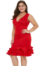 Load image into Gallery viewer, Red V Neck  Dress