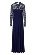 Load image into Gallery viewer, Blue Night Lace Maxi Dress