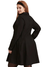 Load image into Gallery viewer, Button Down Plus Size Flared Shirt Dress-Black
