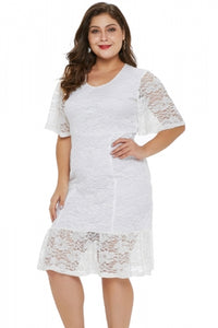 Plus Size Lace Dress (White, Black)