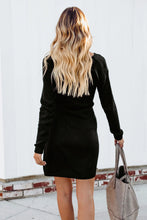 Load image into Gallery viewer, Black Tie Sweater Dress
