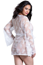 Load image into Gallery viewer, White Plus Size Butterfly Sleeves Lace Robe with Thong