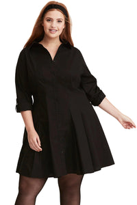Button Down Plus Size Flared Shirt Dress-Black