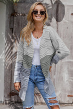 Load image into Gallery viewer, Gray Colorblock Knit Cardigan