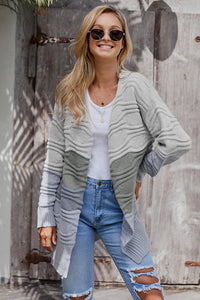 Gray Colorblock Knit Cardigan