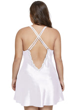 Load image into Gallery viewer, White Satin and Lace Chemise Set