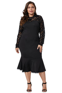 Black Plus Size Lace Panel Peplum Hem Sheath Dress