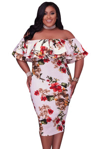Floral Layered Ruffle Off Shoulder Curvaceous Dress