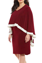 Load image into Gallery viewer, Burgundy Contrast Trim Capelet Plus Size Poncho Dress