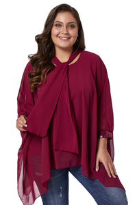 Burgundy Long Sleeve Chiffon Overlay Plus Size Blouse