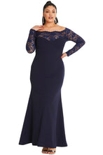 Load image into Gallery viewer, Blue Lace Off-The-Shoulder Maxi Dress