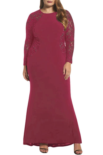 Red Lace and Knit Plus Size A-line Gown