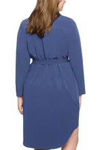 Load image into Gallery viewer, Navy Blue Diagonal Button Detail V Neck Plus Size Dress