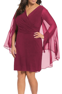 Red Plus Size Sleeveless Surplice Sheath Capelet Dress