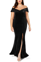 Load image into Gallery viewer, Black Plus Size Off-The-Shoulder Velvet Gown