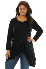 Load image into Gallery viewer, Black Long Sleeve Frill Hemline Plus Size Tunic