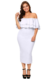 White Layered Ruffle Off Shoulder Curvaceous Dress