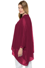 Load image into Gallery viewer, Burgundy Long Sleeve Chiffon Overlay Plus Size Blouse