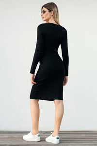 Black Button Detail Sweater Dress