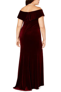 Red Off-The-Shoulder Velvet Gown