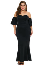 Load image into Gallery viewer, Black Strapless Drop Shoulder Maxi Dress