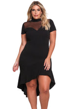 Load image into Gallery viewer, Black Mesh Insert Ruffled Hi-low Hem Curvy Dress