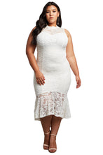 Load image into Gallery viewer, White Lace High Low Plus Size Party Dress