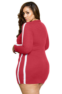 Striped Long Sleeve Red Ripped Curvy Dress