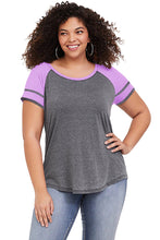 Load image into Gallery viewer, Purple Short Sleeve Plus Size Tee