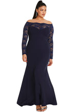 Load image into Gallery viewer, Blue Lace Off-The-Shoulder Plus Size Maxi Dress