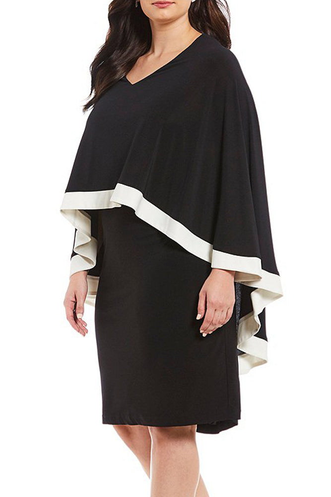 Black Contrast Trim Capelet Plus Size Poncho Dress