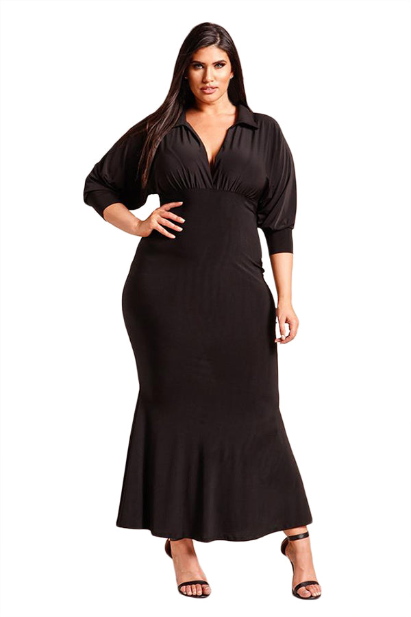 Black Plus Size Collared Deep V Maxi Dress