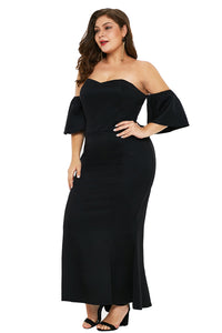 Black Strapless Drop Shoulder Maxi Dress