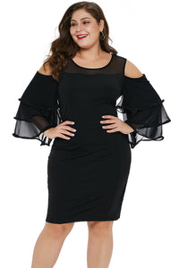 Black Cold Shoulder Cascading Sleeve Plus Size Dress